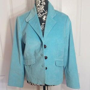 Sky Blue LL Bean Blazer Jacket 12 Petite Large